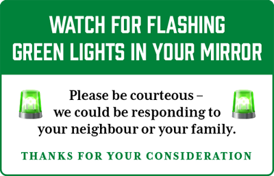 Green Lights Flashing - Please be courteous and let us pass